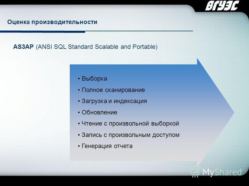 Company Logo Оценка производительности AS3AP (ANSI SQL Standard Scalable and Portable) Выборка Полное сканирование Загрузка и индексация Обновление Чтение с произвольной выборкой Запись с произвольным доступом Генерация отчета