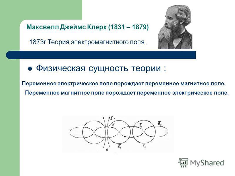 Максвелл Джеймс Клерк (1831 – 1879) Физическая сущность теории : 1873 г.Теория электромагнитного поля. Переменное электрическое поле порождает переменное магнитное поле. Переменное магнитное поле порождает переменное электрическое поле.