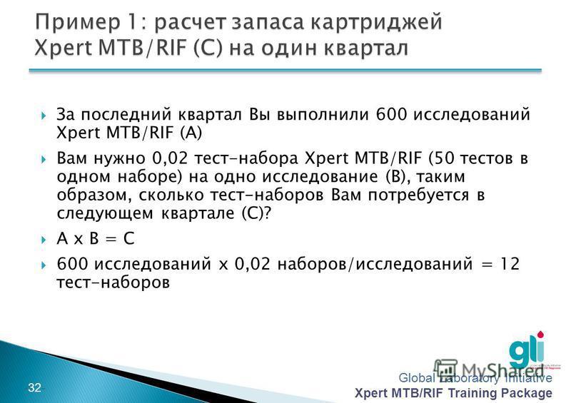 Global Laboratory Initiative Xpert MTB/RIF Training Package -31- Значение (C) равно количеству наименования, необходимого на один квартал Рассчитать (C) умножив количество исследований, выполненных за один квартал (A) на количество наименования, необ