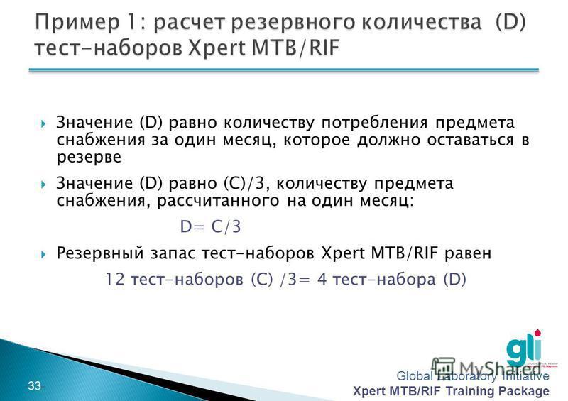 Global Laboratory Initiative Xpert MTB/RIF Training Package -32- За последний квартал Вы выполнили 600 исследований Xpert MTB/RIF (A) Вам нужно 0,02 тест-набора Xpert MTB/RIF (50 тестов в одном наборе) на одно исследование (B), таким образом, сколько