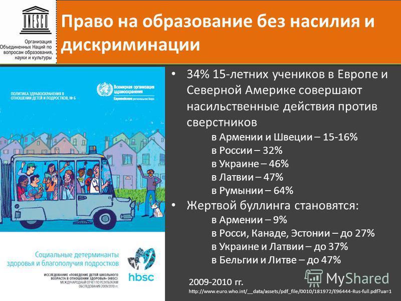 34% 15-летних учеников в Европе и Северной Америке совершают насильственные действия против сверстников в Армении и Швеции – 15-16% в России – 32% в Украине – 46% в Латвии – 47% в Румынии – 64% Жертвой боулинга становятся: в Армении – 9% в Росси, Кан