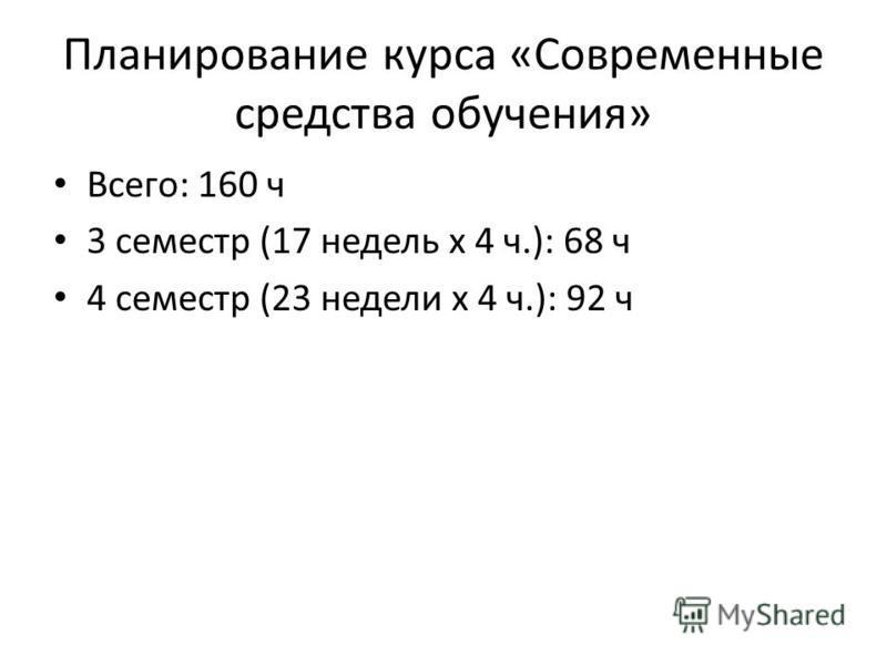 Планирование курса «Современные средства обучения» Всего: 160 ч 3 семестр (17 недель х 4 ч.): 68 ч 4 семестр (23 недели х 4 ч.): 92 ч