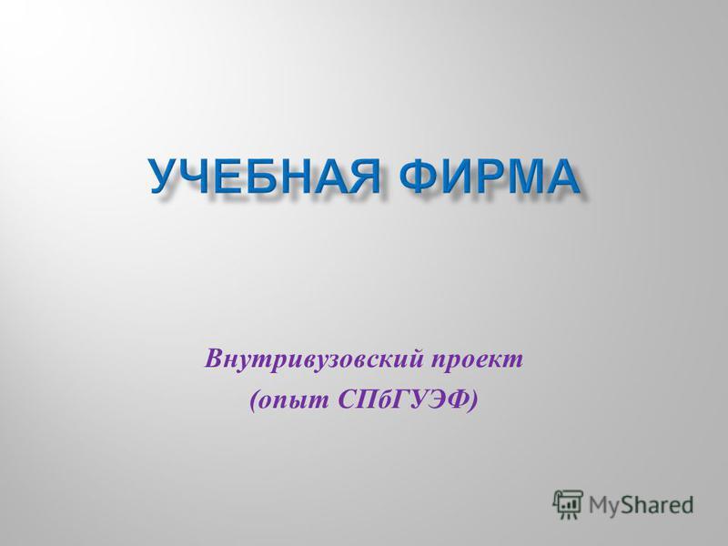 Внутривузовский проект ( опыт СПбГУЭФ )