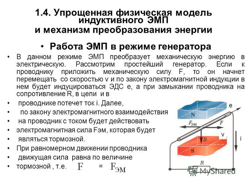 1.4. Упрощенная физическая модель индуктивного ЭМП и механизм преобразования энергии Работа ЭМП в режиме генератора В данном режиме ЭМП преобразует механическую энергию в электрическую. Рассмотрим простейший генератор. Если к проводнику приложить мех