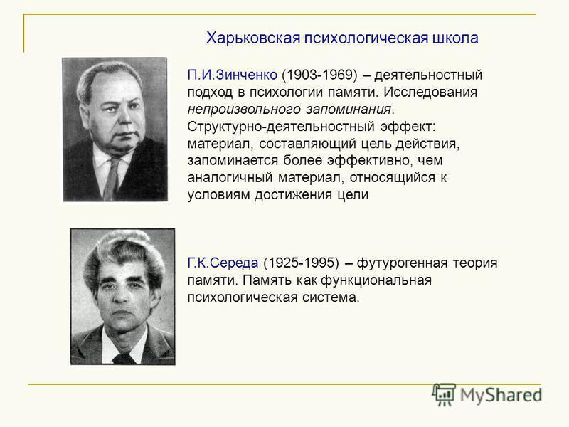 П.И.Зинченко (1903-1969) – деятельностный подход в психологии памяти. Исследования непроизвольного запоминания. Структурно-деятельностный эффект: материал, составляющий цель действия, запоминается более эффективно, чем аналогичный материал, относящий
