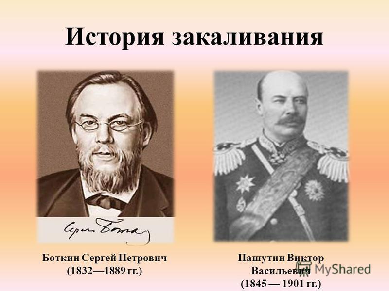 История закаливания Боткин Сергей Петрович (18321889 гг.) Пашутин Виктор Васильевич (1845 1901 гг.)