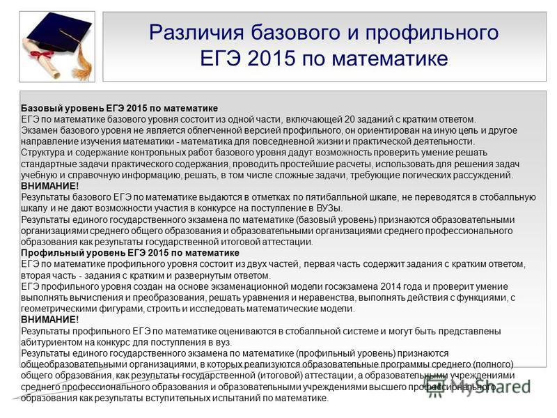 Различия базового и профильного ЕГЭ 2015 по математике Базовый уровень ЕГЭ 2015 по математике ЕГЭ по математике базового уровня состоит из одной части, включающей 20 заданий с кратким ответом. Экзамен базового уровня не является облегченной версией п