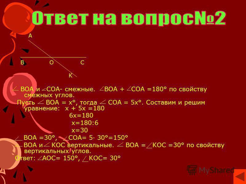А В О С К ВОА и СОА- смежные. ВОА + СОА =180° по свойству смежных углов. Пусть ВОА = х°, тогда СОА = 5 х°. Составим и решим уравнение: х + 5 х =180 6 х=180 х=180:6 х=30 ВОА =30°, СОА= 5· 30°=150° ВОА и КОС вертикальные. ВОА = КОС =30° по свойству вер