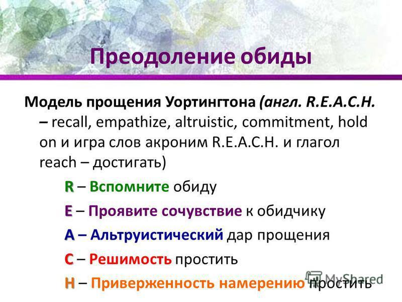 Преодоление обиды Модель прощения Уортингтона (англ. R.E.A.C.H. – recall, empathize, altruistic, commitment, hold on и игра слов акроним R.E.A.C.H. и глагол reach – достигать) R R – Вспомните обиду E E – Проявите сочувствие к обидчику A A – Альтруист
