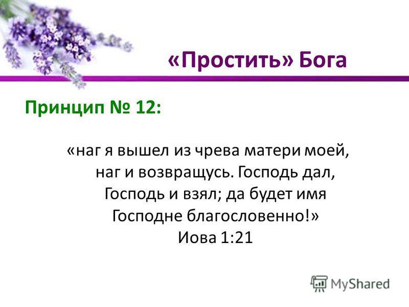 «Простить» Бога Принцип 12: «наг я вышел из чрева матери моей, наг и возвращусь. Господь дал, Господь и взял; да будет имя Господне благословенно!» Иова 1:21