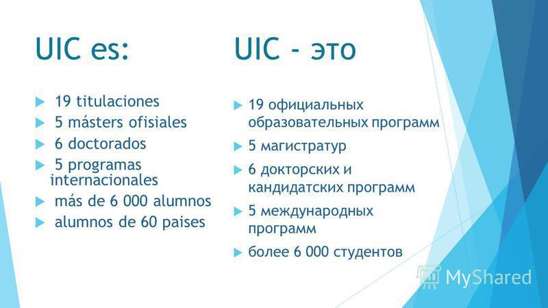 UIC es: UIC - это 19 titulaciones 5 másters ofisiales 6 doctorados 5 programas internacionales más de 6 000 alumnos alumnos de 60 paises 19 официальных образовательных программ 5 магистратур 6 докторских и кандидатских программ 5 международных програ
