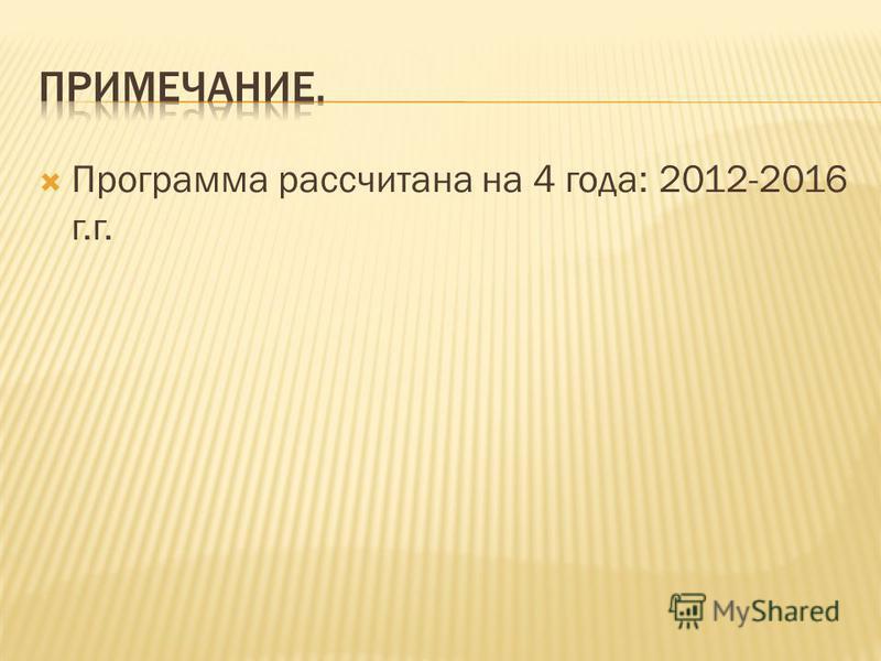 Программа рассчитана на 4 года: 2012-2016 г.г.
