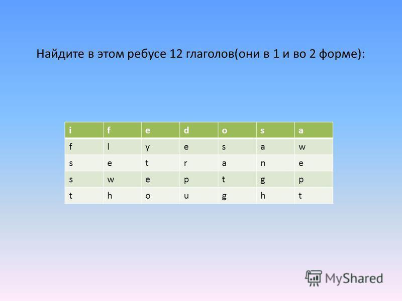 Найдите в этом ребусе 12 глаголов(они в 1 и во 2 форме): ifedosa flyesaw setrane sweptgp thought