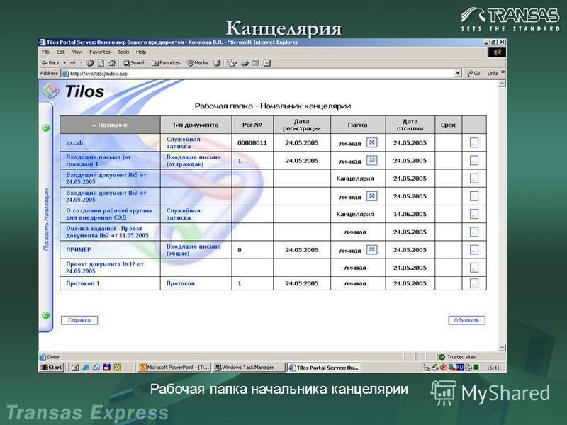 Канцелярия Рабочая папка начальника канцелярии