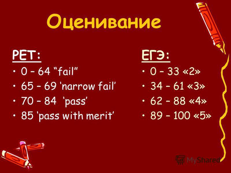 РЕТ: 0 – 64 fail 65 – 69 narrow fail 70 – 84 pass 85 pass with merit ЕГЭ: 0 – 33 «2» 34 – 61 «3» 62 – 88 «4» 89 – 100 «5» Оценивание
