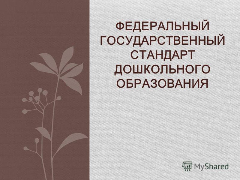 ФЕДЕРАЛЬНЫЙ ГОСУДАРСТВЕННЫЙ СТАНДАРТ ДОШКОЛЬНОГО ОБРАЗОВАНИЯ