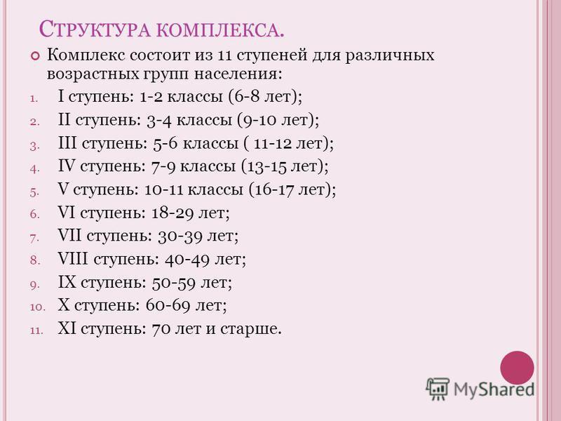 С ТРУКТУРА КОМПЛЕКСА. Комплекс состоит из 11 ступеней для различных возрастных групп населения: 1. I ступень: 1-2 классы (6-8 лет); 2. II ступень: 3-4 классы (9-10 лет); 3. III ступень: 5-6 классы ( 11-12 лет); 4. IV ступень: 7-9 классы (13-15 лет);