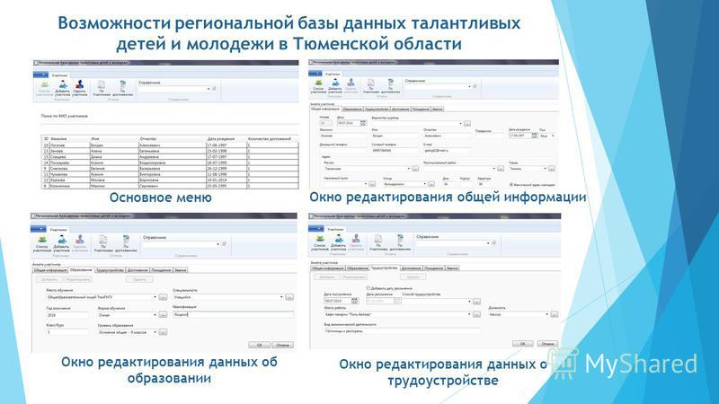 Возможности региональной базы данных талантливых детей и молодежи в Тюменской области Основное меню Окно редактирования общей информации Окно редактирования данных об образовании Окно редактирования данных о трудоустройстве