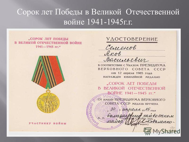 Сорок лет Победы в Великой Отечественной войне 1941-1945 г. г.