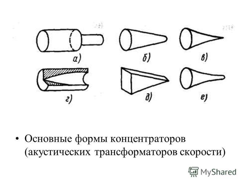Основные формы концентраторов (акустических трансформаторов скорости)