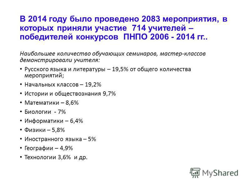 В 2014 году было проведено 2083 мероприятия, в которых приняли участие 714 учителей – победителей конкурсов ПНПО 2006 - 2014 гг.. Наибольшее количество обучающих семинаров, мастер-классов демонстрировали учителя: Русского языка и литературы – 19,5% о