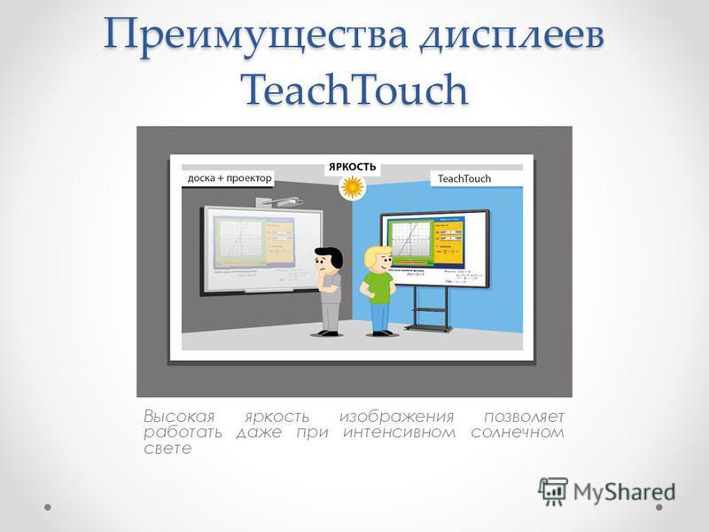 Преимущества дисплеев TeachTouch Высокая яркость изображения позволяет работать даже при интенсивном солнечном свете