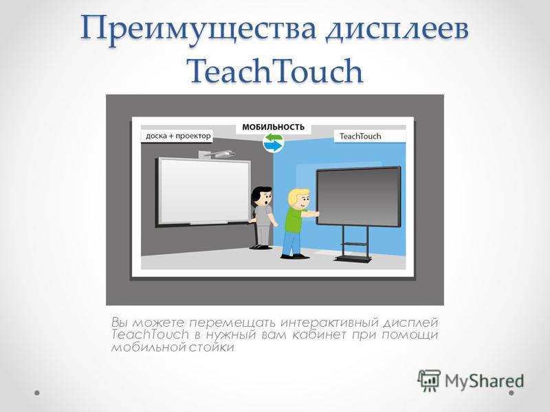 Преимущества дисплеев TeachTouch Вы можете перемещать интерактивный дисплей TeachTouch в нужный вам кабинет при помощи мобильной стойки