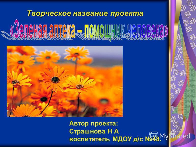 Творческое название проекта Автор проекта: Страшнова Н А воспитатель МДОУ д\с 48.