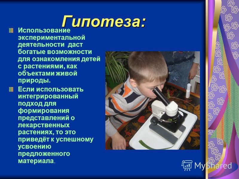 Гипотеза: Использование экспериментальной деятельности даст богатые возможности для ознакомления детей с растениями, как объектами живой природы. Если использовать интегрированный подход для формирования представлений о лекарственных растениях, то эт