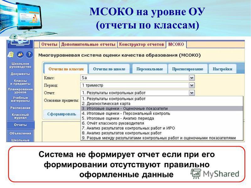 МСОКО на уровне ОУ (отчеты по классам) Система не формирует отчет если при его формировании отсутствуют правильно оформленные данные