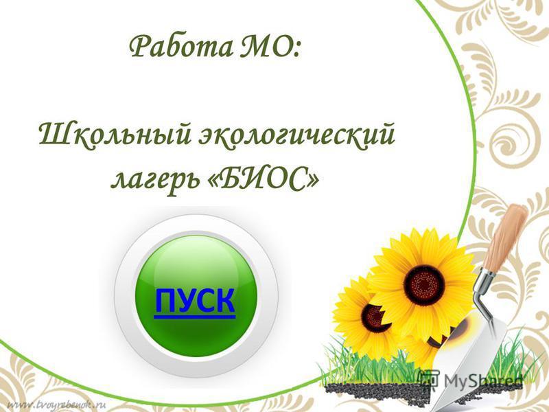 Работа МО: Школьный экологический лагерь «БИОС» ПУСК