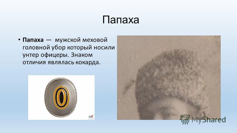 Папаха Папаха мужской меховой головной убор который носили унтер офицеры. Знаком отличия являлась кокарда.
