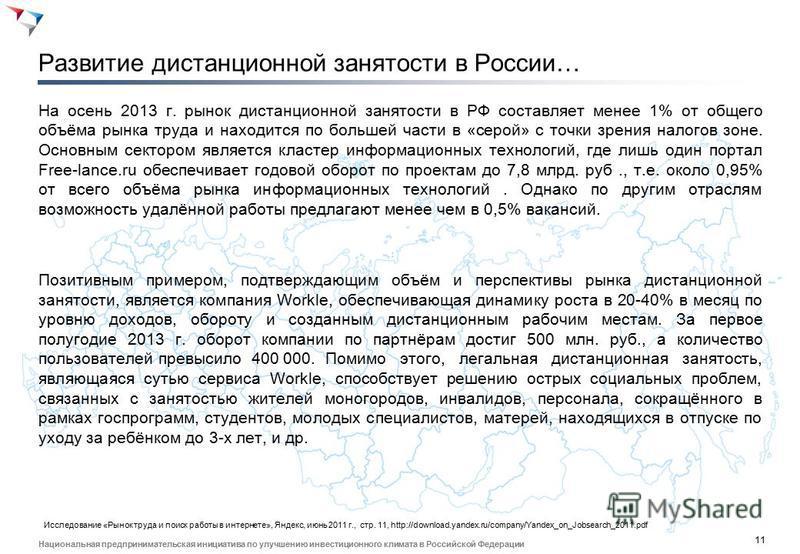 11 Национальная предпринимательская инициатива по улучшению инвестиционного климата в Российской Федерации Развитие дистанционной занятости в России… На осень 2013 г. рынок дистанционной занятости в РФ составляет менее 1% от общего объёма рынка труда