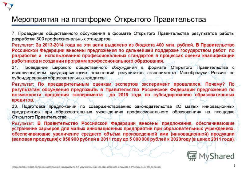 6 Национальная предпринимательская инициатива по улучшению инвестиционного климата в Российской Федерации Мероприятия на платформе Открытого Правительства 7. Проведение общественного обсуждения в формате Открытого Правительства результатов работы раз