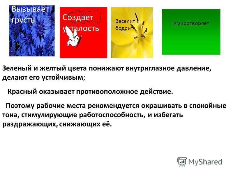 Зеленый и желтый цвета понижают внутриглазное давление, делают его устойчивым; Красный оказывает противоположное действие. Поэтому рабочие места рекомендуется окрашивать в спокойные тона, стимулирующие работоспособность, и избегать раздражающих, сниж