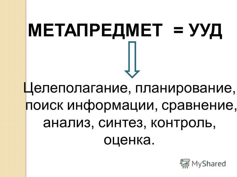 МЕТАПРЕДМЕТ = УУД Целеполагание, планирование, поиск информации, сравнение, анализ, синтез, контроль, оценка.