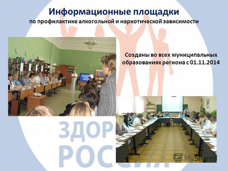 Информационные площадки по профилактике алкогольной и наркотической зависимости Созданы во всех муниципальных образованиях региона с 01.11.2014