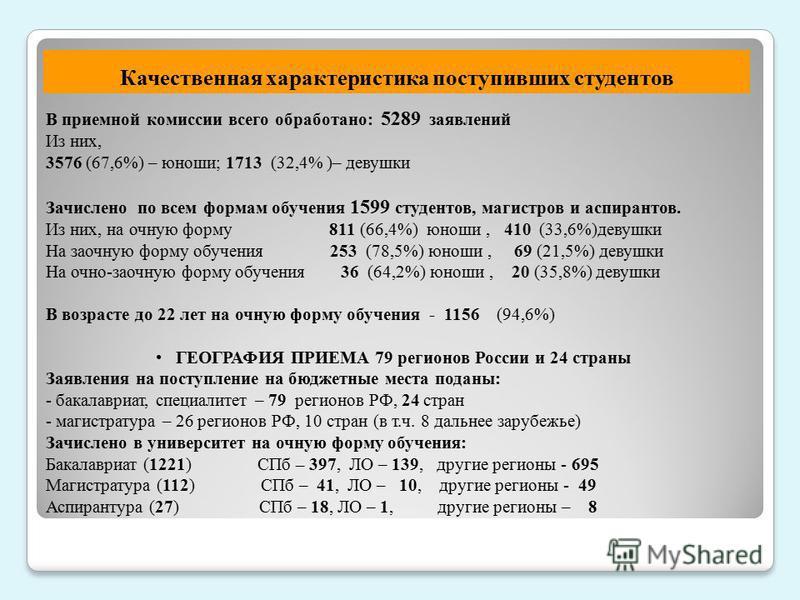 В приемной комиссии всего обработано: 5289 заявлений Из них, 3576 (67,6%) – юноши; 1713 (32,4% )– девушки Зачислено по всем формам обучения 1599 студентов, магистров и аспирантов. Из них, на очную форму 811 (66,4%) юноши, 410 (33,6%)девушки На заочну
