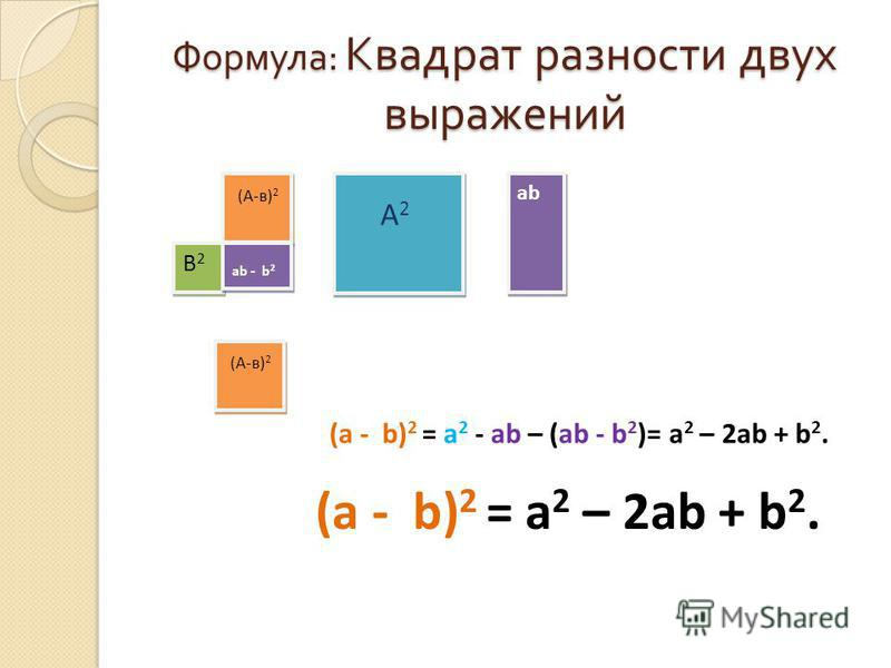 Формула : Квадрат разности двух выражений (А-в) 2 А 2 А 2 ab В2В2 В2В2 ab - b 2 (А-в) 2 (a - b) 2 = a 2 - ab – (ab - b 2 )= a 2 – 2ab + b 2. (a - b) 2 = a 2 – 2ab + b 2.