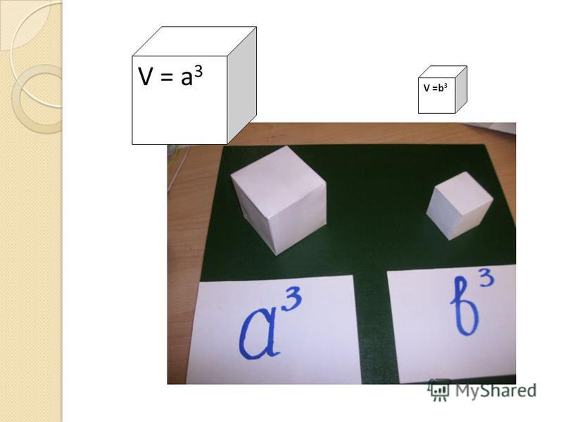 V = a 3 V =b 3