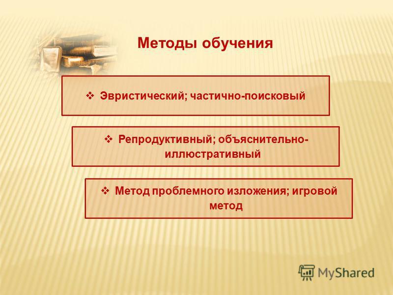 Методы обучения Эвристический; частично-поисковый Репродуктивный; объяснительно- иллюстративный Метод проблемного изложения; игровой метод