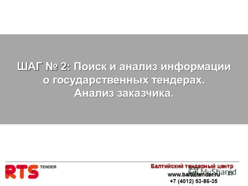 29 ШАГ 2: Поиск и анализ информации о государственных тендерах. Анализ заказчика.