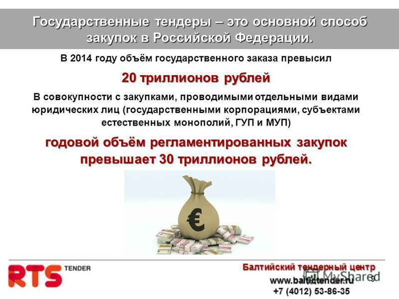 9 Государственные тендеры – это основной способ закупок в Российской Федерации. В 2014 году объём государственного заказа превысил 20 триллионов рублей В совокупности с закупками, проводимыми отдельными видами юридических лиц (государственными корпор