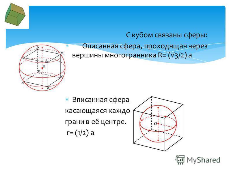 Пусть ребро куба равно а. Площадь поверхности: Объём: Диагональ: