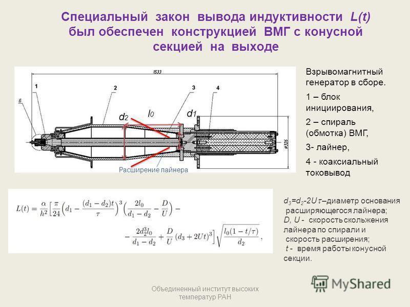 Специальный закон вывода индуктивности L(t) был обеспечен конструкцией ВМГ с конусной секцией на выходе Объединенный институт высоких температур РАН Взрывомагнитный генератор в сборе. 1 – блок инициирования, 2 – спираль (обмотка) ВМГ, 3- лайнер, 4 -