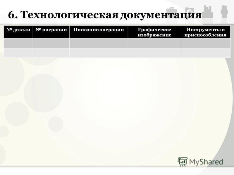 6. Технологическая документация детали операции Описание операции Графическое изображение Инструменты и приспособления
