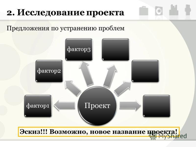 2. Исследование проекта Предложения по устранению проблем Эскиз!!! Возможно, новое название проекта! Проект фактор 1 фактор 2 фактор 3
