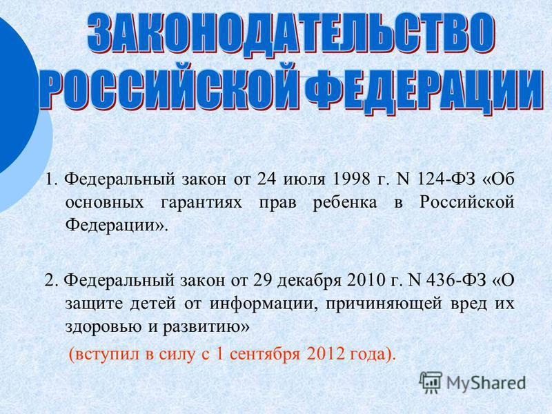 1. Федеральный закон от 24 июля 1998 г. N 124-ФЗ «Об основных гарантиях прав ребенка в Российской Федерации». 2. Федеральный закон от 29 декабря 2010 г. N 436-ФЗ «О защите детей от информации, причиняющей вред их здоровью и развитию» (вступил в силу