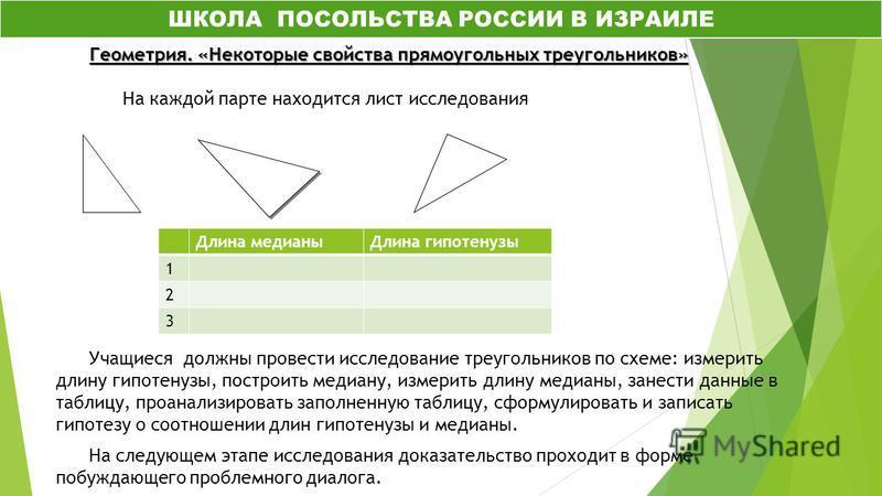 Геометрия. «Некоторые свойства прямоугольных треугольников» Геометрия. «Некоторые свойства прямоугольных треугольников» На каждой парте находится лист исследования Учащиеся должны провести исследование треугольников по схеме: измерить длину гипотенуз