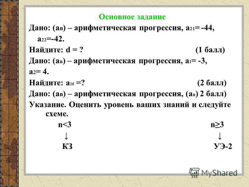 Основное задание Дано: (а n ) – арифметическая прогрессия, а 21 = -44, а 22 =-42. Найдите: d = ? (1 балл) Дано: (а n ) – арифметическая прогрессия, а 1 = -3, а 2 = 4. Найдите: а 16 =? (2 балл) Дано: (а n ) – арифметическая прогрессия, (а n ) 2 балл)